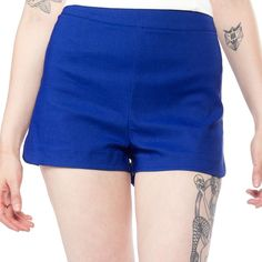 SOURPUSS SWEETIE PIE SHORTS ROYAL BLUE $37.00 #sourpuss #sourpussclothing #shorts #pinup #rockabilly #retro #summer #spring