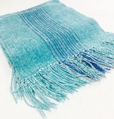 Woven Rayon Chenille Bright Turquoise Scarf by Claire Perrault