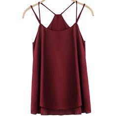 Strap Loose Chiffon Red Cami Top (€9,08) ❤ liked on Polyvore featuring tops, shirts, tank tops, tanks, red, spaghetti strap tank tops, loose shirt, ruffle shirt, spaghetti strap top and chiffon tank top