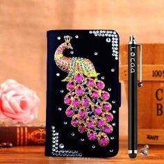 Locaa(TM) Samsung Galaxy Note 4 Bling Peacock Case + Phone stylus + Anti-dust ear plug Deluxe Luxury Crystal Pearl Diamond Rhinestone eye-catching Beautiful Leather Retro Support bumper Cover Card Holder Wallet Cases [Peacock Series] Black ca Bowling Accessories, Dremel Accessories, Kids Hair Accessories, Fairy Garden Accessories, Halloween Accessories, Cell Phone Accessories, Cases Iphone 6, Iphone Wallet Case, Iphone 5s