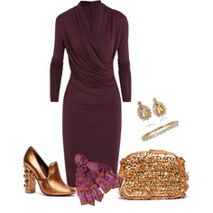 Love this dress. The accessories? Not so much.  Purple Plum, created by evam-246 on Polyvore