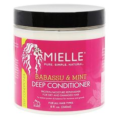 Shop for Babassu Mint Deep Conditioner from Mielle Organics at Sally Beauty. This deep penetrating conditioner is made with ingredients that help restore moisture to damaged and dry hair. Best Natural Hair Products, Natural Hair Tips, Natural Hair Styles, Natural Oils, Beauty Products, Curl Products, Beauty Dupes, Drugstore Beauty, Beauty Skin