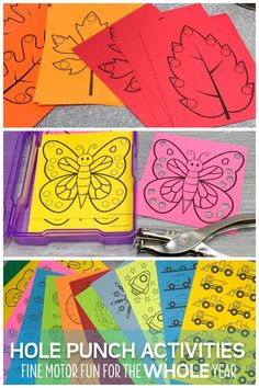 Kids love these hole punch activities. Use the printables to build fine motor skills, for hand strengthening, and to improve hand-eye coordination in a fun and exciting way. Perfect for your preschool, pre-k, kindergarten, special education, occupational therapy classroom, or at home. The printables include shapes and many themes and seasonal printables to use during spring, summer, winter, and fall.