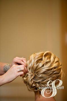Wedding hair. Curls pinned up
