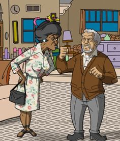 """Esther how would you like """"five across the lips""""? Artwork of the Classic TV show Sanford and Son with Fred Sanford and Esther Anderson. Black Love Art, Black Girl Art, My Black Is Beautiful, Art Girl, Black Tv, Funny Caricatures, Celebrity Caricatures, Celebrity Drawings, Black Cartoon"""