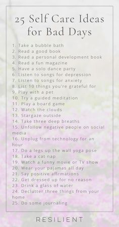 When bad days strike, it's nice to have a list of self care ideas you can pull o. - When bad days strike, it's nice to have a list of self care ideas you can pull o. When bad days strike, it's nice to have a list of self care ideas . Songs For Anxiety, Motivation, Depressing Songs, Personal Development Books, Self Care Routine, Gym Routine, Me Time, Self Improvement, Self Help
