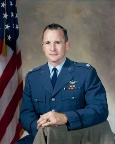 """Edward Higgins White, II (Lt Col, USAF) (November 14, 1930 – January 27, 1967) was an engineer, United States Air Force officer and NASA astronaut. On June 3, 1965, he became the first American to """"walk"""" in space. White died along with fellow astronauts Gus Grissom and Roger Chaffee during a pre-launch test for the first manned Apollo mission at Cape Kennedy. He was awarded the NASA Distinguished Service Medal for his Gemini 4 spaceflight & was awarded the Congressional Space Medal of Honor."""
