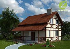 Панельно-каркасный дом с мансардой. H-41
