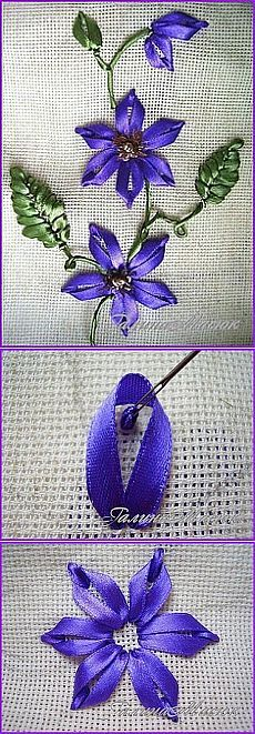 Wonderful Ribbon Embroidery Flowers by Hand Ideas. Enchanting Ribbon Embroidery Flowers by Hand Ideas. Ribbon Embroidery Tutorial, Silk Ribbon Embroidery, Cross Stitch Embroidery, Embroidery Patterns, Hand Embroidery, Embroidery Supplies, Embroidery Tools, Sequin Embroidery, Embroidery Materials