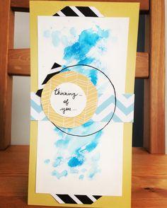 Handmade watery blue card @frenchylaura0412