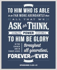 God is Able - Ephesians 3:20-21  |  8x10  |  Scripture Print by Courtney Shehee