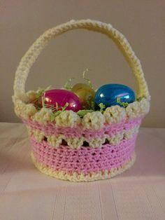 Crochet Easter Basket. Kids Pink Crocheted Easter Basket. Baby Basket. Babies 1st Easter Basket. Knit Basket. Girl or Boy. Made to Order.
