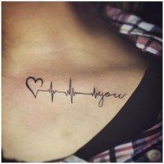 ekg tattoo ~ ekg tattoo + ekg tattoo ideas + ekg tattoo memorial + ekg tattoo nurse + ekg tattoo placement + ekg tattoo with flower + ekg tattoo men + ekg tattoo with name Ekg Tattoo, Tattoo Ekg Linie, Tattoo Liebe, Clavicle Tattoo, Tattoo Baby, Wrist Tattoo, Sanskrit Tattoo, Heartbeat Tattoo With Name, In A Heartbeat