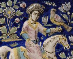 Antique Persian Qajar Moulded Pottery Tile, 19th C.