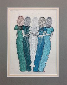 """Machine Embroidery Designs, Machine Embroidery, Angel Sister, Angel friend Holiday Embroidery """" 5 sisters/friends by NicolaElliott on Etsy"""