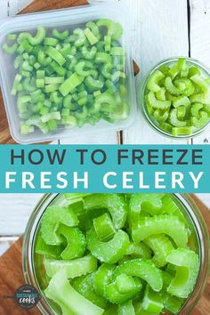 Learn all the tips for Freezing Celery to save yourself time and money. A stash of frozen celery in your freezer can easily be added to soups, casseroles, and other hot dishes for fast meals that can quickly be thrown together. Celery Recipes, Raw Food Recipes, Veggie Recipes, How To Freeze Celery, Freezing Celery, Freezing Vegetables, Frozen Vegetables, Best Nutrition Food, Nutrition Jobs