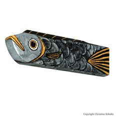 Silver Fish Decor Painted Wood Folk Art by TaylorArts on Etsy