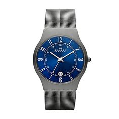 Skagen Mens 233XLTTN Grenen Grey Titanium Mesh Watch ** To view further for this item, visit the image link. (Note:Amazon affiliate link)