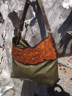 Green Purse w/ Tooled Leather