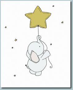 Safari Nursery Decor - Star Nursery Prints - Elephant and Stars - Set of 3 Prints - Elephant Nursery Decor - Safari Animal Prints - Elephant drawing Elephant Nursery Decor, Star Nursery, Elephant Art, Nursery Prints, Baby Elephant, Nursery Drawings, Nursery Boy, Art Wall Kids, Art For Kids