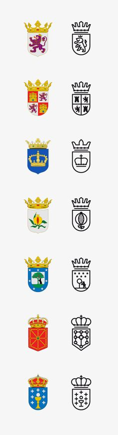 These Spanish kingdom crests have been modernised and turned into illustrated logos. I love these designs and feel they are very effective even though all colour has been extracted from them. The use of symbols such as crowns and horses still keep that heraldry feel to the logo design, so it doesn't lose its meaning all together.