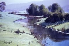 Brungle Creek NSW - 45 x 30 © Copyright John Wilson Watercolor Landscape, Landscape Art, Landscape Paintings, Australian Painting, Australian Artists, Long Painting, Painting Art, John Wilson, Royal Art