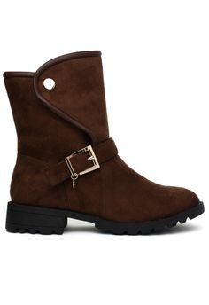 Faux Suede Buckle Biker Boots in Brown - Retro, Indie and Unique Fashion