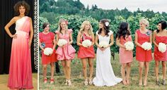 Im obsessed with the colors. & i love the idea of having different bridesmaids dresses for the girls.