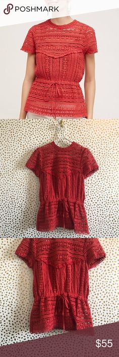 2bd5f47402bb9 Anthropologie Carolina K Burnt Orange Lace Blouse Excellent pre owned  condition! Size small. Burnt