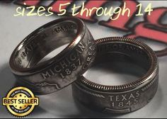 US State Series Quarter Coin Rings (ANY STATE) Sizes 4-14 (Message Size & state) #HandmadeDoubleSidedCoinRing #Band