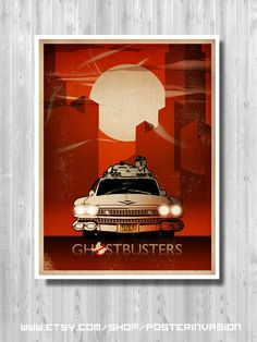 Ghostbusters Ecto-1 print, Ghostbusters Print, Movie Art, Ghostbusters print, Ghostbuster Retro, Art Prints, Minimalist Ghostbusters poster,
