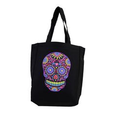 Purple Leopard Boutique - Black Tote Bag Beach Purse with Bright Colorful Day of the Dead Skull, $19.00 (http://www.purpleleopardboutique.com/black-tote-bag-beach-purse-with-bright-colorful-day-of-the-dead-skull/)