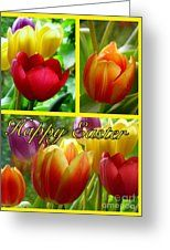 Rainbow Tulip Easter Greeting Greeting Card by Joan-Violet Stretch