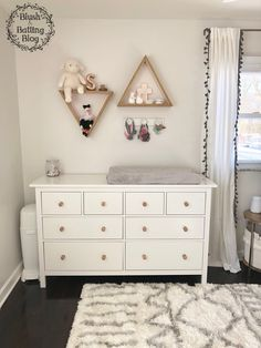 Baby Girl Nursery Tour | Ikea Hemnes Dresser Changing Table | Blush and Batting Blog White Dresser Nursery, Ikea Baby Nursery, Nursery Ideas, Nursery Neutral, Nursery Inspiration, Nursery Room, Malm, Changing Dresser, Nursery Shelving
