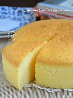 Japanese Souffle Cheesecake (Fool-Proof) 日式舒芙蕾芝士蛋糕 // 125g cream cheese, 60g unsalted butter, 5 egg yolks, 125g milk, 1 t lemon juice, 75g cake flour, 35g corn flour, 5 egg whites, 120g caster sugar, 1/2 t lemon juice