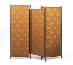 """Partition"" folding screen Hermes ""partition"" angled and foldable screen that can be used to section off spaces and enhance the vertical appeal of Hermes fabrics. Reverse covered with cinnamon H Decoration canvas fabric. Opened: L76.8"" x H76"" x P1.2"" - Closed: L39.4"" x H76.4"" x W5.5"""