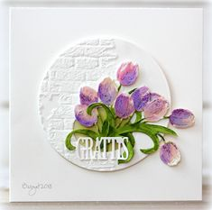 """My card for the challenge """"Dry Embossing""""   at Less is More´s blog  this week!     I used a Wall brick embossing folder for the circle an..."""