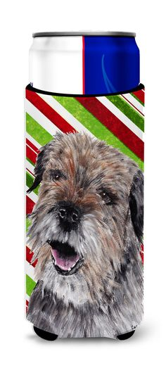 Border Terrier Candy Cane Christmas Ultra Beverage Insulators for slim cans