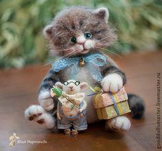 Котенок и Мышонок собрались в гости:) - коричневый,котенок из шерсти,валяная игрушка
