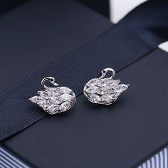 Double Earrings, Simple Earrings, Women's Earrings, Diamond Earrings, Geometric Type, Jewelries, Fashion Earrings, Swan, Personality