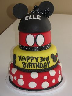 4 Tier mickey mouse & minnie mouse cake