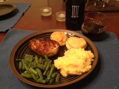 Loaded mashed potatoes, steamed green beans, biscuits, marinated pork chops & a nice glass of Romans Lot Pinot Nior...mmmm