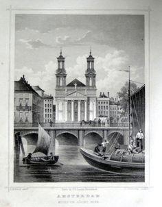 Amsterdam-Mozes en Aarons Kerk   Herkomst : J.L. Terwen - Het Koningrijk der Nederlanden, afm. 14 x 20 cm Staalgravure 1860