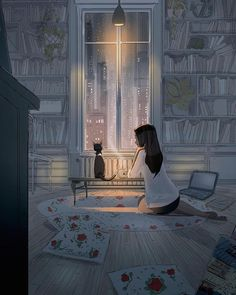 San-Francisco-based illustrator Pascal Campion captures the magic in everyday moments. Each colorful digital illustration is like a snapshot of a precious memory with loved ones, pets, or simply a tranquil moment of solitude. Pascal Campion, Pictures To Draw, Best Funny Pictures, Images Terrifiantes, Cute Quotes For Girls, Art Aquarelle, Cat Drawing, Drawing Ideas, Psychedelic Art