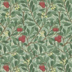 Dark Green / Red - 210406 - Arbutus - Compendium II - Morris & Co Wallpaper