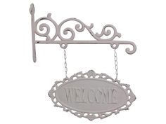Chic Antique, Schild Welcome ,Metall, Shabby chic,Romantik,Landhausstil,weiß