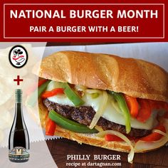 #Philly #burger with #Wagyu #beef #provolone #cheese #peppers and Ama Bionda #beer by Brooklyn Brewery.