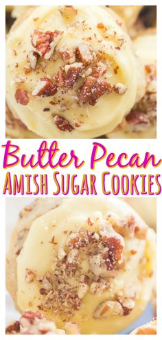 Butter Pecan Amish Sugar Cookies Butter Pecan Amish Sugar Cookies are thick, puffy, melt-in-your-mouth cookies, jammed with toasted pecans, and slathered in rich butter icing! Amish Sugar Cookies, Butter Pecan Cookies, Sugar Cookies Recipe, Yummy Cookies, Butter Icing, Jam Cookies, Cookie Desserts, Just Desserts, Cookie Recipes