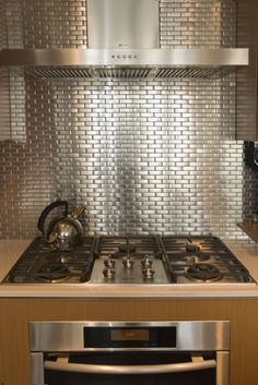 Silver Backsplash Kitchen Collection The Silver Tile Backsplash Is