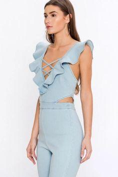 51ba9f030a12 Dear Summer Ruffle Denim Jumpsuit in Light Blue